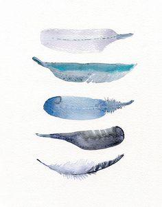 Watercolor art print - feather print from original watercolor art - 5 Bird…