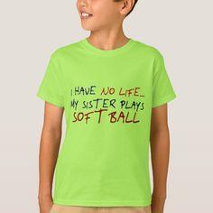 Shop My Sister Plays Softball T-Shirt created by OneStopGiftShop. Softball Memes, Softball Bags, Softball Mom Shirts, Softball Cheers, Softball Crafts, Softball Pitching, Girls Softball, Fastpitch Softball, Softball Players