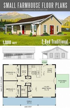 The best simple farmhouse plans - Timeless 2-Bed Small Traditional Farmhouse Plan