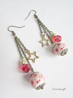 Boucles d 'oreilles perles de porcelaine et étoiles - création Creaconcept