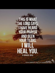 One thing we have to remember is that sometimes our healing doesn't come in the way we expect. But God ALWAYS keeps his promises.