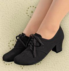 Aris Allen Women's Black 1930s Velvet Oxford Swing Dance Shoes, dancestore.com - 1