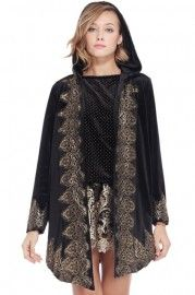 Baroque Embroidered Black Velvet Coat