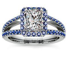 Radiant Halo Split Shank Sapphire Engagement Ring in Platinum  http://www.brilliance.com/engagement-rings/halo-split-shank-sapphire-ring-platinum