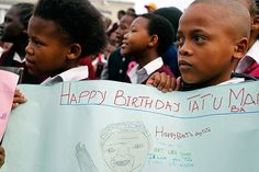 Mandela's birthday: Children hold up a poster at a school in Cape Town Nelson Mandela Birthday, Birthday Celebrations, Cape Town, Happy Birthday, Love You, Celebrities, School, Children, Poster
