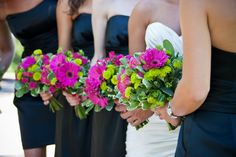 Hot pink gerbera daisies and yellow accents