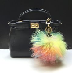 34.00$  Watch now - http://vimjd.justgood.pw/vig/item.php?t=sa3fkna30540 - NEW Tropical Swirl™ Multi Color Raccoon Fur Pom Pom bag charm clover flower char 34.00$