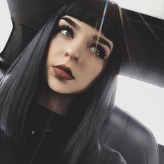 Wearable, Long Black Straight women hair Synthetic Lace Front Wig With Bangs Goth Hair, Grunge Hair, Wigs With Bangs, Hairstyles With Bangs, Vintage Hairstyles, Betty Bangs, Long Wigs, Synthetic Lace Front Wigs, Dark Hair