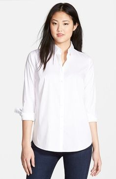 Halogen® Crisp Stretch Poplin Shirt (Regular & Petite) available at #Nordstrom