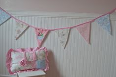 Shabby Chic Fabric Banner Bunting Nursery Decor by LyLyRosee, $22.00