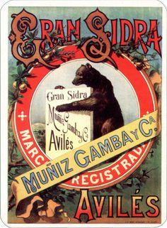 Anuncio de la sidra champagne EL OSO, de Avilés, fabricada por Muñiz, Gamba y Compañía
