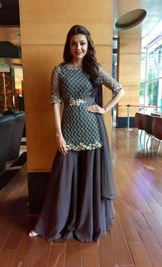 Actress Kajal Aggarwal in a bugle-beads embellished kurta & palazzos ensemble from our Pre-Fall 2016 Party Wear Indian Dresses, Designer Party Wear Dresses, Pakistani Dresses Casual, Indian Gowns Dresses, Indian Fashion Dresses, Dress Indian Style, Pakistani Dress Design, Indian Wedding Outfits, Indian Designer Outfits