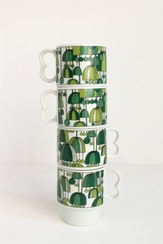 Vintage Mod Green Design Stacking Mugs Made by MarketStreetVintage on Etsy