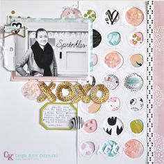 """#SCChallenge Circles """"OXOXO"""" Layout by scrappyleigh at @studio_calico"""