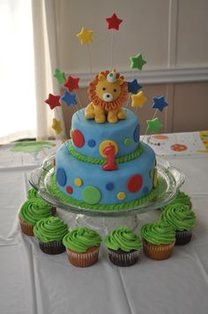 lion cakes for kids birthday Lion themed 1st Birthday cake