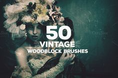 50 Vintage Woodblock Brushes by Layerform on Creative Market