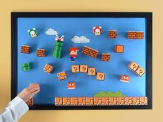 Have you remembered that evil Koopa papercraft? If you don't want the strong bad guy to stand on your desk, the Super Mario paper craft magnetic board should Super Mario Room, Super Mario 3d, Mario Bros., Mario Party, Lego Mario, Boy Room, Kids Room, Mario Crafts, Gamer Room