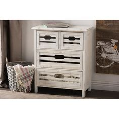 Wholesale Interiors Rococo Shabby Elegance 4 Drawer Storage Cabinet