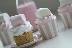 "Passion 4 baking ""Sweet Pink Marshmallow ♥ Cupcakes(banana oatmeal cupcake & vanilla bean frosting)"