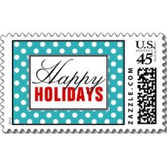 Polka Dot Turquoise with Red Happy Holidays Postage Stamps
