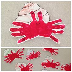 Hermit crab hands! We did this, this summer when we did a week on ocean creatures. The toddlers colored their shells and then we painted each hand red....