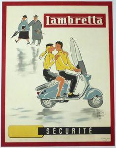 Pub Lambretta Lambretta Scooter, Vespa Scooters, Scooter Girl, Herve, Retro Ads, Old Ads, Super Bikes, Vintage Posters, Motorbikes