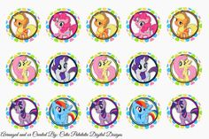 Freebies: My Little Pony bottle cap images (FREE)