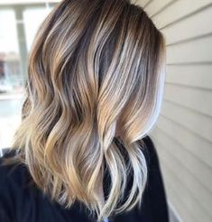 blonde balayage, Blonde balayage hair color ideas to try,shadow root, curls in a textured lob, holiday hair