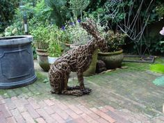 Willow Rabbits and Hares Sculptures #sculpture by #sculptor Emma Walker titled: 'willow HARE.' £384 #art