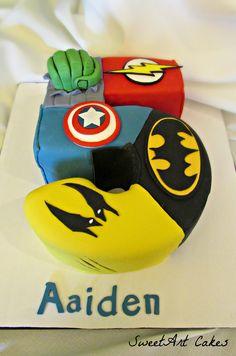 Superhero Number Birthday Cake