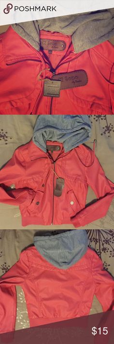 NWT Pink Bomber Jacket with Removable Grey Hood New Ci Sono by Cavalini faux leather pink jacket Ci Sono by Cavalini Jackets & Coats