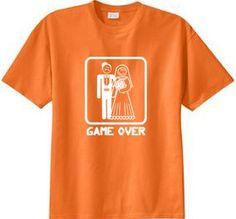 GAME OVER Funny Bride Groom Orange Sherbert Novelty T-shirt 2XL