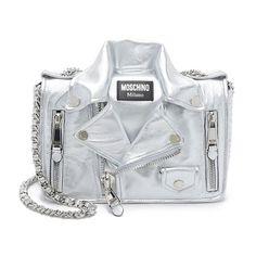 Moschino Biker Jacket Womens Medium Leather Shoulder Bag Silver