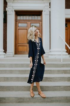 Navy Embroidered Dress | ROOLEE