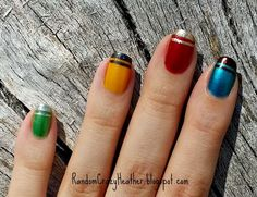 Harry Potter manicure --//-- stripes, not spots, although they are cute. One house, not all houses, no hallows on thumbs.