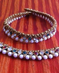 Maroon Green Stones Pearl Payal or Anklet- Ethnic Indian Bollywood Jewelry b158