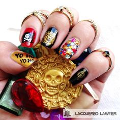Lacquered Lawyer | Nail Art Blog: A Pirate's Life For Me | Pirates of the Caribbean nail art.