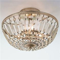 "Antiqued Crystal Basket Semi-Flush Ceiling Light. Too grown up? $229 9.5""Hx14""W, 5"" canopy, 3 60watt candle base sockets"