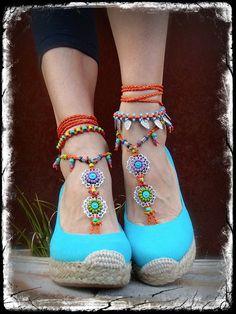 Orange GYPSY summer BAREFOOT SANDALS soleless sandals beach wedding rainbow dance Anklet foot jewelry bohemian Statement shoes unique