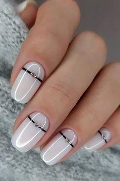 Chic Nails, Stylish Nails, Swag Nails, White Nail Designs, Nail Art Designs, Nails Design, White Manicure, Nagellack Design, Dipped Nails