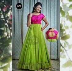 Best 12 Pink n green Designer Anarkali Dresses, Designer Party Wear Dresses, Kurti Designs Party Wear, Indian Designer Outfits, Indian Long Dress, Indian Gowns Dresses, Dress Indian Style, Party Wear Frocks, Gown Party Wear