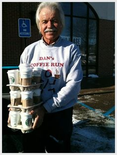 Every Thursday around 10:30 am Dan walks into Starbucks at Square Lake and Woodward, takes out a list and proceeds to order anywhere from 12 to 24 drinks. It all depends on is who at the Michigan Cancer Center getting chemotherapy treatments and wants a drink from Starbucks. Does Dan work there? Nope. Does Dan have a relative there? Not anymore. So why would this man spend his money every Thursday to buy people he does not even know drinks at Starbucks? http://www.danscoffeerun.net/