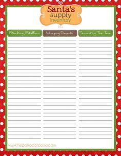 Christmas Organizing Printables: inventory