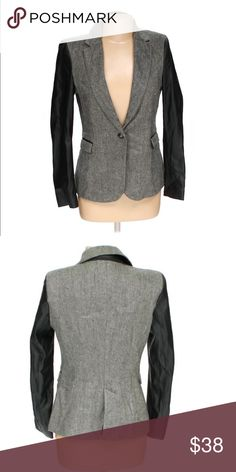 Zara Faux Leather Blazer Gray twee Blazer with black Faux leather sleeves and back of collar. In Excellent condition. Open to reasonable offers. 👍😊 Zara Jackets & Coats Blazers