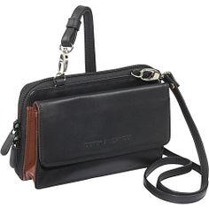#DerekAlexander, #Handbags, #LeatherHandbags - Derek Alexander Full Zip Rear Organizer - BLACK/BRANDY