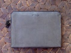 Jeff Thomsen Collection - Tablet and Document Cases, hand crafted, genuine leather - DOC002 Charcoal Grey Naturally matte