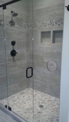 30 Popular Bathroom Shower Tile Design Ideas And Makeover. If you are looking for Bathroom Shower Tile Design Ideas And Makeover, You come to the right place. Below are the Bathroom Shower Tile Desig. Simple Bathroom, Modern Bathroom, Bathroom Mirrors, Shower Bathroom, Master Shower Tile, Bathroom Cabinets, Bathroom Fixtures, Gray Shower Tile, Kitchen Cabinets