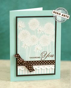 Hero Arts Cardmaking Idea: Thinking of You - Flower Medley stamp Scrapbooking, Scrapbook Cards, Card Making Inspiration, Making Ideas, Hero Arts Cards, Embossed Cards, Beautiful Handmade Cards, Get Well Cards, Pretty Cards