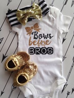 Bows before Bros Bodysuit Baby Newborn Shirt Glitter Shirt Birth Announcement Bodysuit New Baby Gift Coming Home Outfit Baby Shower Gift by PurplePossom on Etsy https://www.etsy.com/listing/239248439/bows-before-bros-bodysuit-baby-newborn