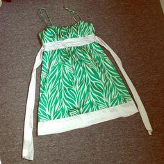 Green & White Leaves Zebra Print Formal Dress Zippers in back. Too big on me. Worn twice. Make an offer! Dresses